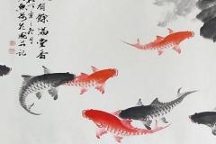 Скинали японские рыбки, акварель
