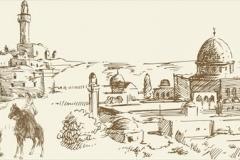 Скинали старинный город на востоке, рисунок