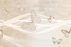 Скинали бабочки на фоне кирпичной стены