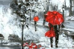 Скинали девушка с красным зонтом. Лондон. Акварель