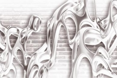 Скинали абстракция брызги на фоне кирпичной стены